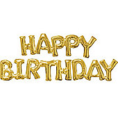 Happy Birthday Gold Phrase Balloons -