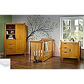 Obaby Stamford Mini Cot Bed 4 Piece Pocket Sprung Mattress Nursery Room Set - Country Pine