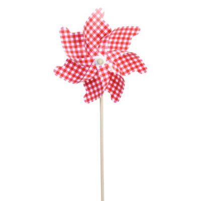 110cm Red & White Gingham Plastic Garden Windmill Ornament