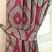 Homescapes Pink and Silver Jacquard Curtain Tie Back Pair Abstract Ikat Design