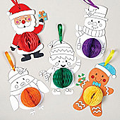 Christmas Colour-in Honeycomb Hanging Decoration Kit for Children to Personalise - Make Your Own Creative Xmas Craft for Kids (Pack of 5)