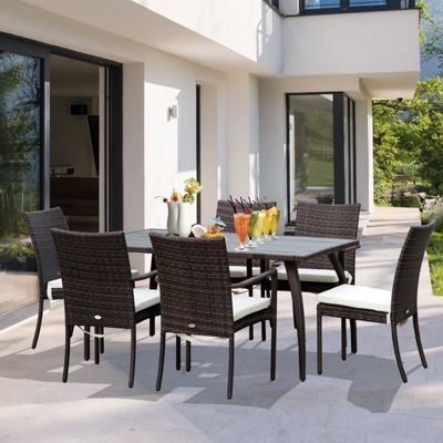 Outsunny 7PC Rattan Dining Set Wood Top Dining Table 6 Seater Garden Furniture - Brown