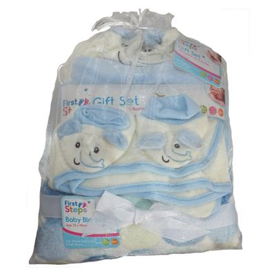 Blue Elephant Baby Gift Set Hat Booties 2 blankets