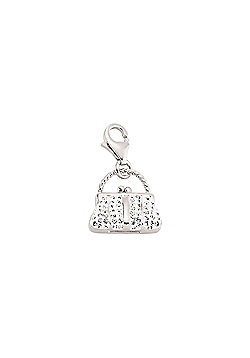 Rhodium Coated Sterling Silver CZ Bag Charn Link Charm