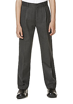 "F&F School 2 Pack of Boys Teflon EcoElite""™ Pleat Front Trousers - Grey"
