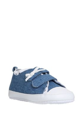 F&F Broderie Anglaise Trim Chambray Trainers Denim Blue 0-3 months