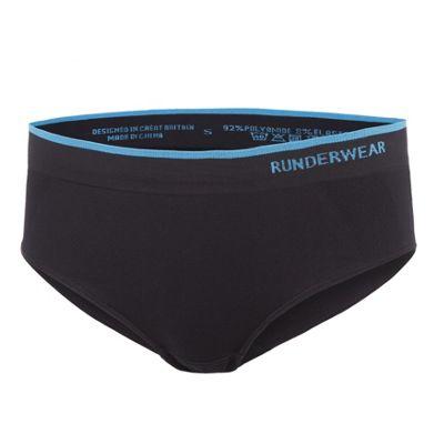 Runderwear Womens Low Rise Hipster Running Underwear Black - UK 8-10