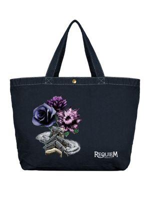Requiem Collective Death's Bouquet Large Canvas Shopper Bag, Black