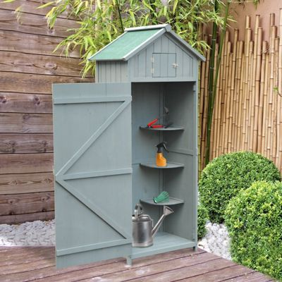 Outsunny 77 x 54.2cm Fir Wooden Shed Storage Cabinet w/ 3 Shelves (Grey)