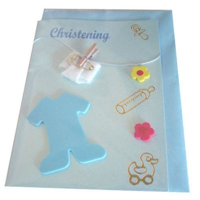 Christening Card - Blue Romper
