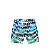 F&F Palm Tree Print Striped Swim Shorts - Blue & Green