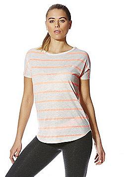 F&F Active Sparkle Stripe T-Shirt - Grey & Coral
