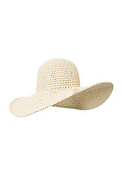 Straw Brim Womens Summer Sun Festival Walking Hiking Hat - Beige
