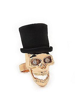 Gold Plated 'Black Hat Skull' Ring - Adjustable (Size 7/8) - 4cm Length