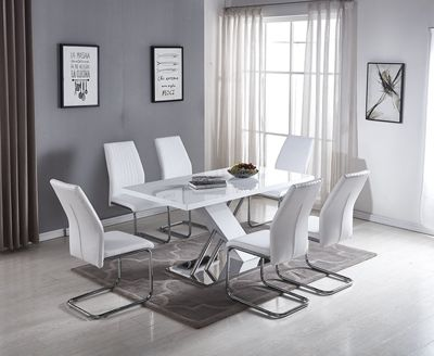 Sorrento White High Gloss And Stainless Steel Dining Table And 6 White Lorenzo Dining Chairs