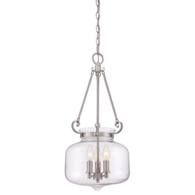 Brushed Nickel 3lt Pendant - 3 x 60W E14