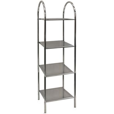 Athena - 4 Tier Metal Bathroom Storage Shelves - Silver