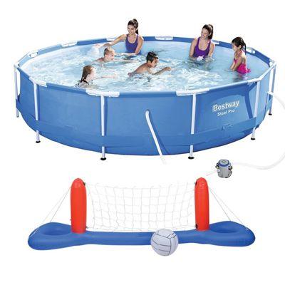Bestway 12 Ft Steel Pro Frame Pool, & Volleyball / Basketball Set Bundle