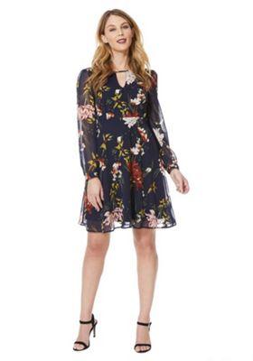 Only Floral Print Chiffon Dress Black XS