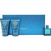 Versace Eros Gift Set 5ml EDT + 25ml Shower Gel + 25ml Aftershave Balm For Men