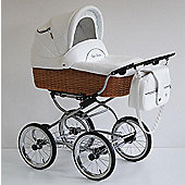 Scarlett Retro Baby 3in1 Travel System - White - Natural Wicker