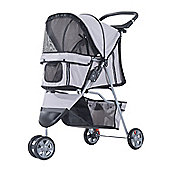 PawHut Pet Travel Stroller Cat Dog Pushchair Trolley Puppy Jogger Carrier Three Wheels (Grey)