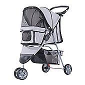 PawHut Pet Travel Stroller Cat Dog Pushchair Trolley Puppy Jogger Carrier Three Wheels (Grey)