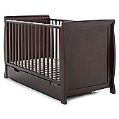 Obaby Lincoln Sleigh Cot Bed & Under Drawer - Walnut