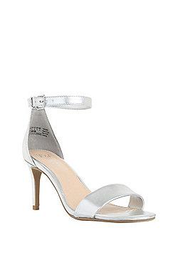 F&F Metallic Ankle Strap Stiletto Sandals - Silver