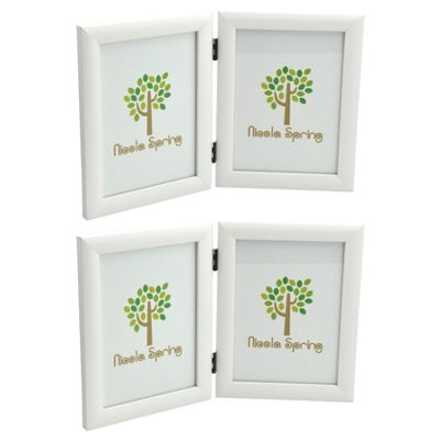 Nicola Spring 5x7 Folding Double Photo Frame In White - Pack Of 2