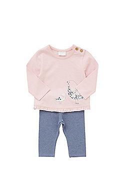 F&F Bird Print Long Sleeve Top and Leggings Set - Pink & Blue