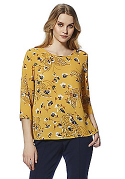 Only Floral 3/4 Sleeve Top - Yellow/Multi