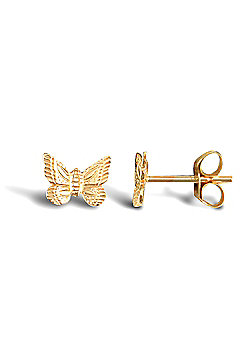 Ladies 9ct Yellow Gold Butterfly Stud Earrings