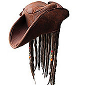 Adult Brown Pirate Hat With Dreadlocks Fancy Dress Accessory