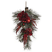 Pine and Red Poinsettia Christmas Hanging Decoration
