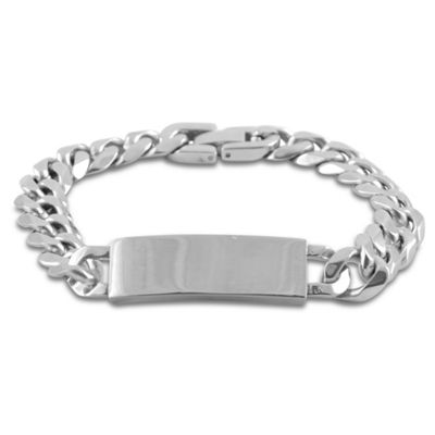 Urban Male Polished Finish Stainless Steel Curb Link Men's Bracelet & ID Plate