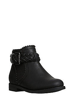 F&F Plaited Buckle Ankle Boots - Black