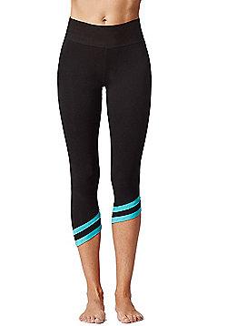 Asymmetric Sports Cropped Leggings Black-Aqua - Black & Blue