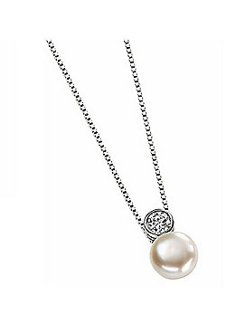 Sterling Silver CZ Round Pearl Pendant