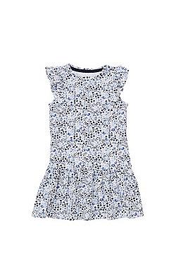 F&F Floral Drop Waist Dress - Blue/White