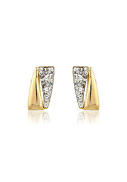 Jewelco London 9ct Yellow Gold - Contemporary Crystal-set Stud - Earrings - Ladies