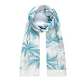 Blue and White Coconut Palm Print Scarf