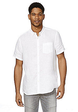 F&F Linen Short Sleeve Shirt - White