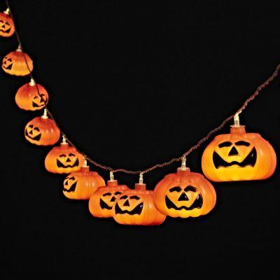 10 Grinning Halloween Pumpkin Battery LED Fairy Lights