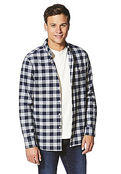 F&F Checked Shirt and Grandad T-Shirt Set - Grey
