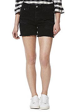 F&F Distressed Mid Rise Denim Shorts - Black