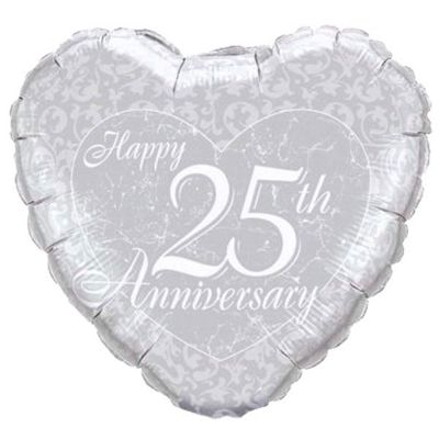25th Anniversary Heart Balloon - 18 inch Foil