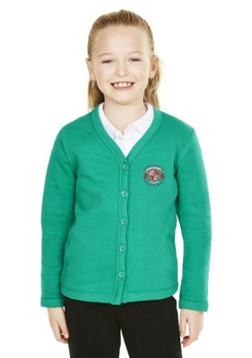 Girls Embroidered Cotton Blend School Sweatshirt Cardigan with As New Technology 3-4 years Jade green