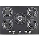 iQ 70cm 5 Burner Gas on Glass Hob - Mirrored Black Glass