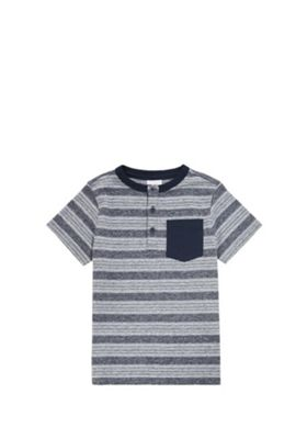 F&F Striped Henley T-Shirt Navy 12-18 months